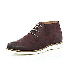 Dark red leather wedge chukka boots