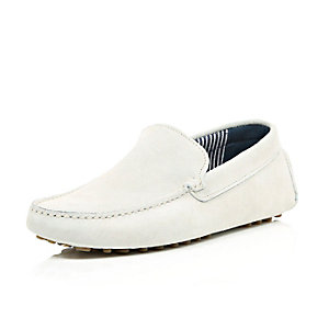 White suede driving shoes
