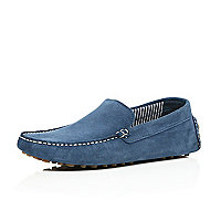 Blue suede driving shoes