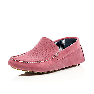 Pink perforated suede driving shoes