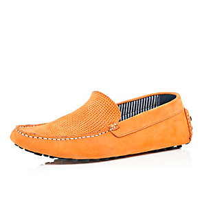 Orange perforated suede driving shoes