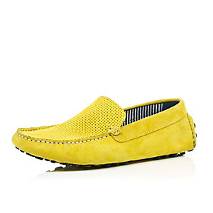 Yellow suede driving shoes