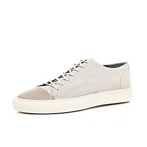 Ecru low top trainers