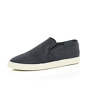 Black nubuck slip on trainers