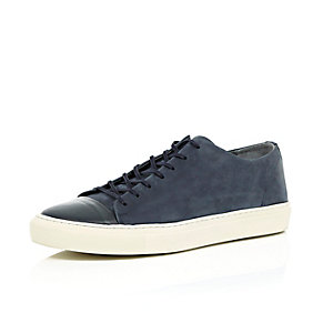Navy leather low-top trainers