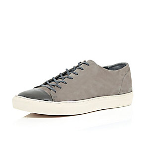 Grey leather low-top trainers