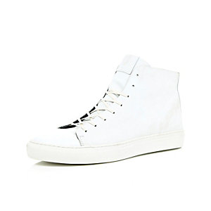 White leather high-top trainers