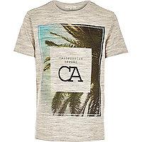 Ecru California Dreams leaf print t-shirt