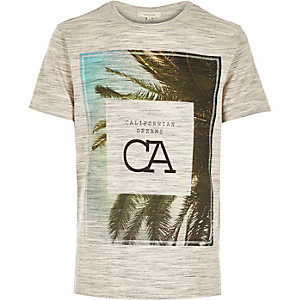 Ecru California Dreams leaf print t-shirt
