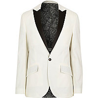 White wool-blend slim tux suit jacket