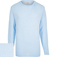Light blue ribbed long sleeve jumper
