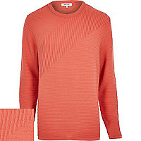Light orange ribbed long sleeve jumper
