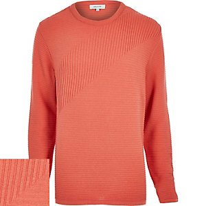 Light orange ribbed long sleeve sweater