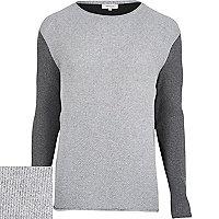 Grey ribbed contrast sleeve jumper