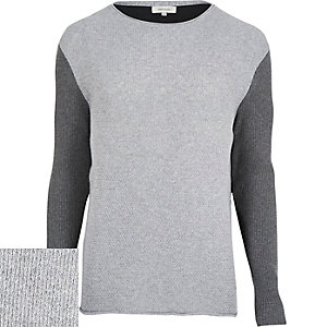 Grey ribbed contrast sleeve jumper