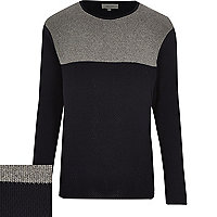 Navy block colour long sleeve jumper