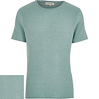 Light green short sleeve textured jumper