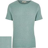 Light green short sleeve textured jumper