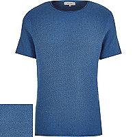 Dark blue short sleeve textured jumper
