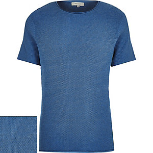Dark blue short sleeve textured jumper