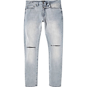 Washed grey ripped Dylan slim jeans