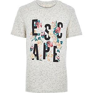 Ecru marl escape floral print t-shirt