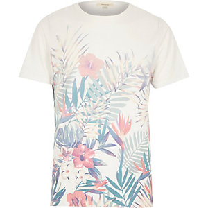 White Hawaiian floral print t-shirt