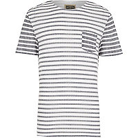 White stripe linen mix t-shirt