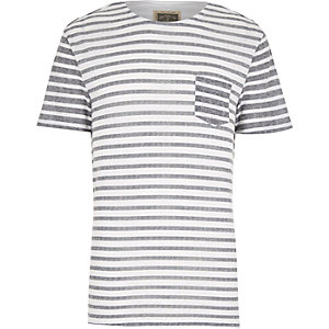White stripe linen blend t-shirt