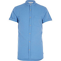 Blue short sleeve grandad shirt