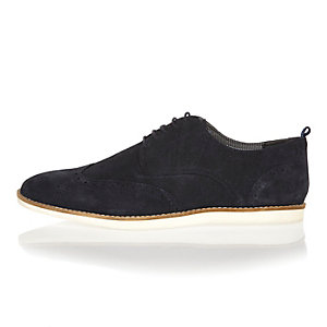 Navy suede lace up brogues