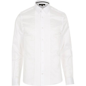 White pleated tux shirt