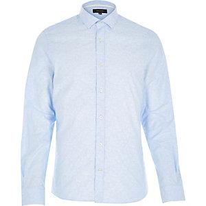 Blue jacquard paisley print shirt