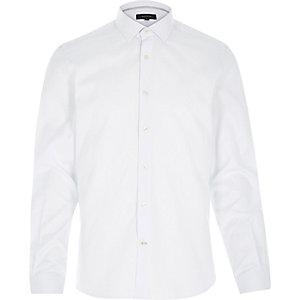 White fine stripe long sleeve shirt