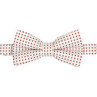Ecru red square bow tie