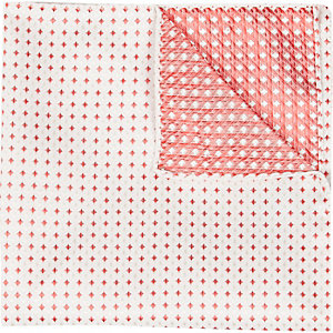 Ecru red square pocket square