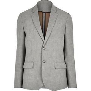 Grey raw edge slim blazer