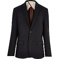 Navy blue slim blazer