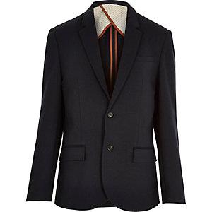 Navy blue jersey slim blazer