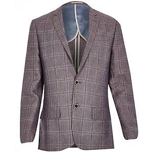 Purple linen-blend check slim blazer