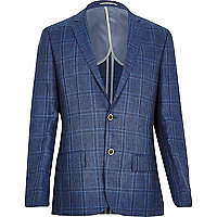 Blue check linen-blend slim blazer