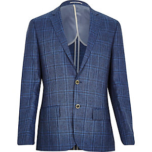 Blue check linen-blend slim blazer