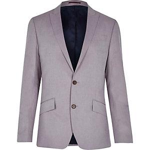 Pink linen-blend slim blazer