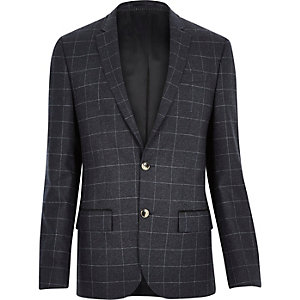 Navy wool-blend check blazer