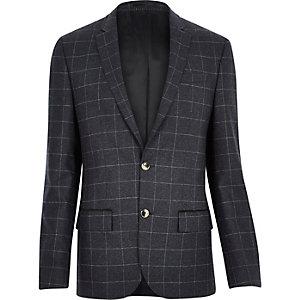 Navy wool-blend check blazer
