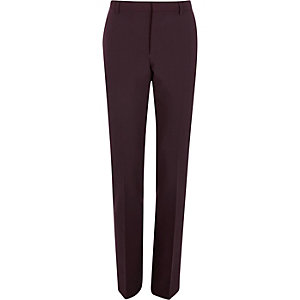 Dark red skinny suit pants