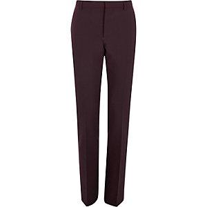 Dark red skinny suit pants