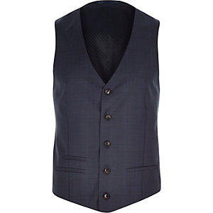 Navy slim suit waistcoat