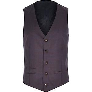 Purple check slim suit waistcoat