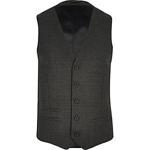 Grey check wool-blend waistcoat